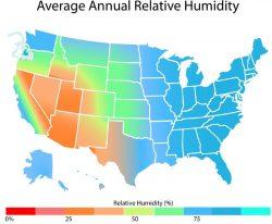relative humidity by region
